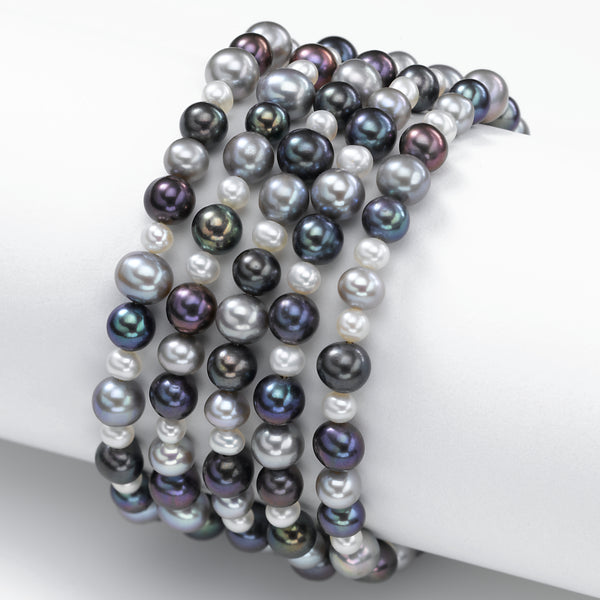 Multi Colored Freshwater Cultured Pearl Bracelets, Set of 5
