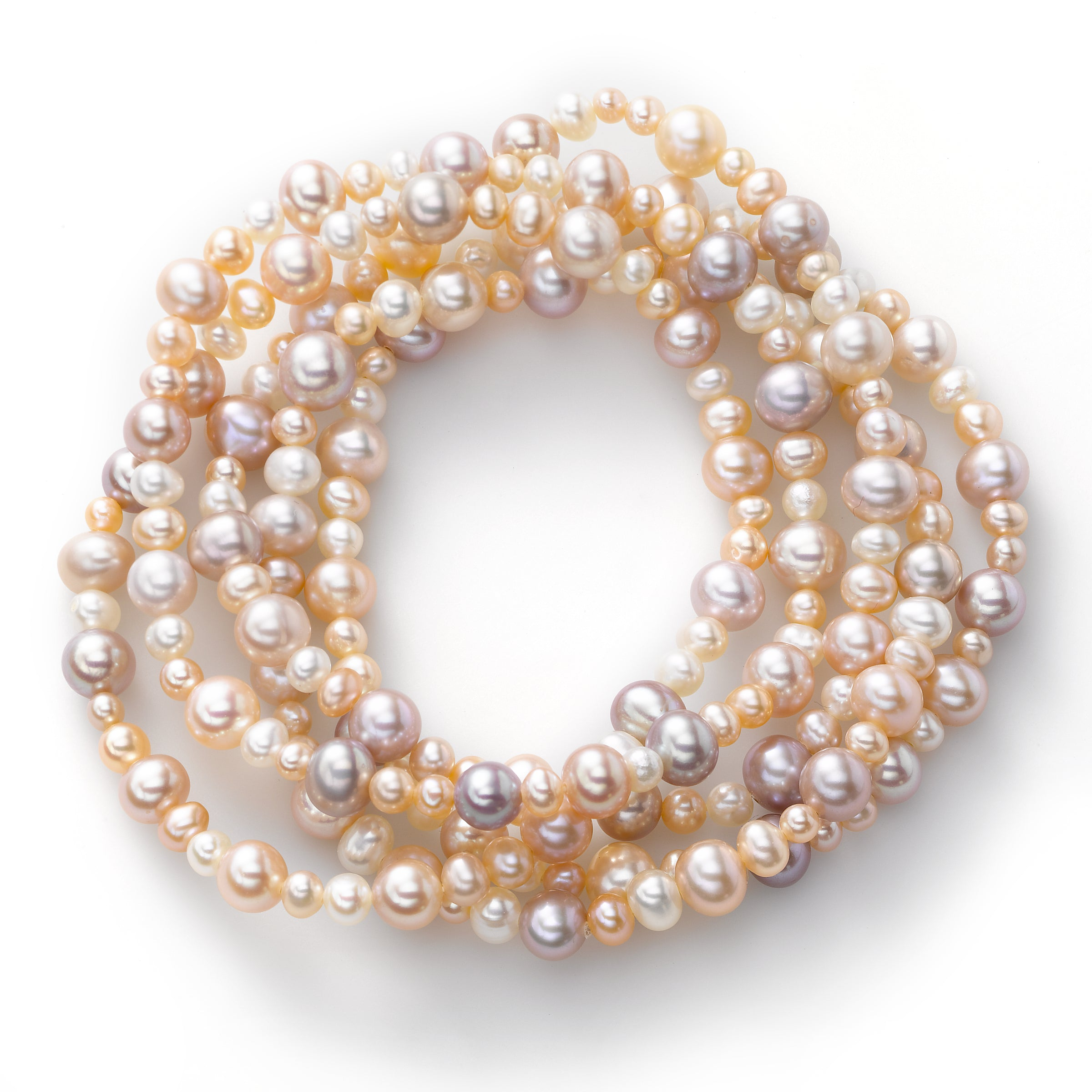 Natural Color Pink Cultured Freshwater Pearl, 3.5 - 6.5MM, Stretch Bracelets, Set of 5