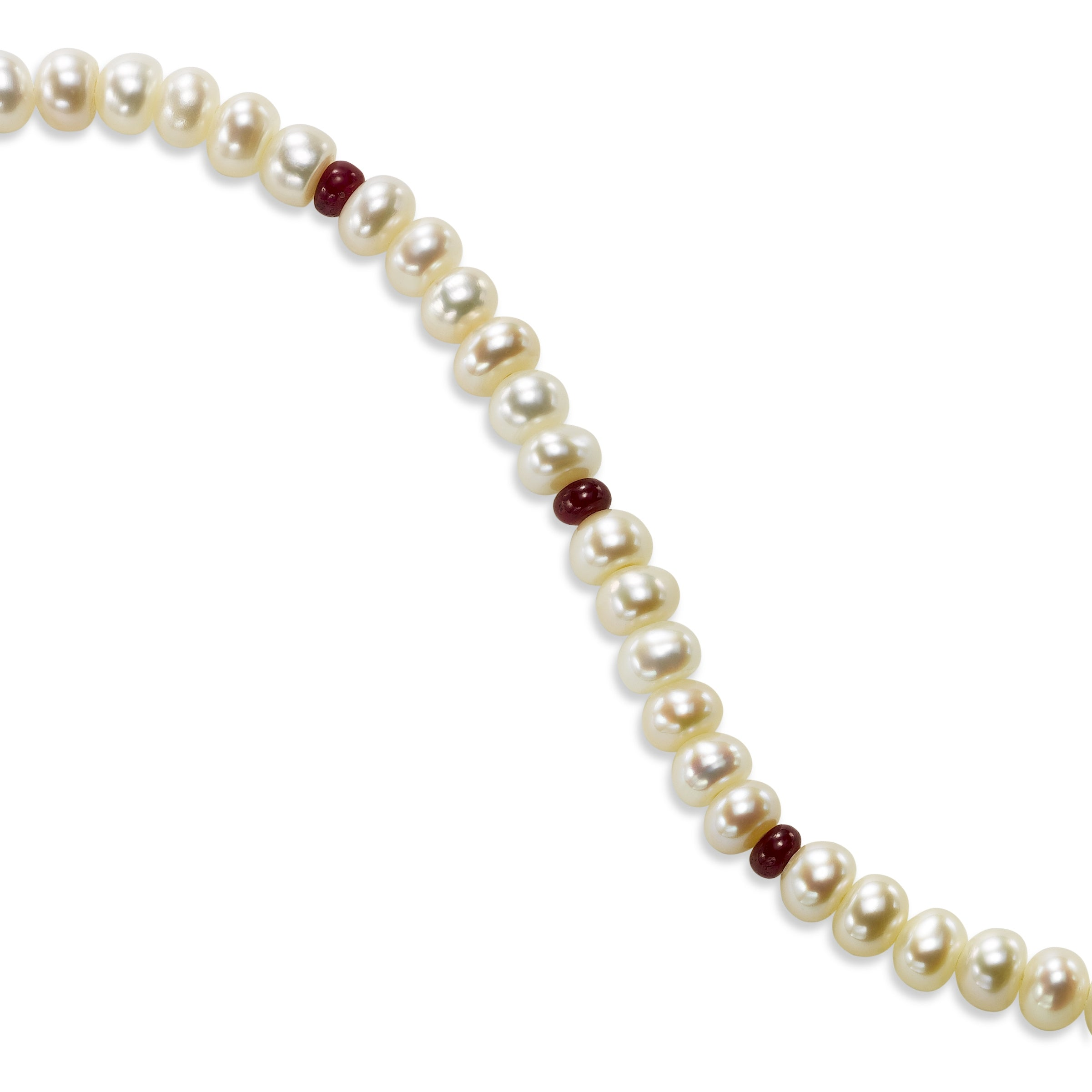 37013a311f31b Freshwater Cultured Pearl and Garnet Bracelet, Sterling Silver