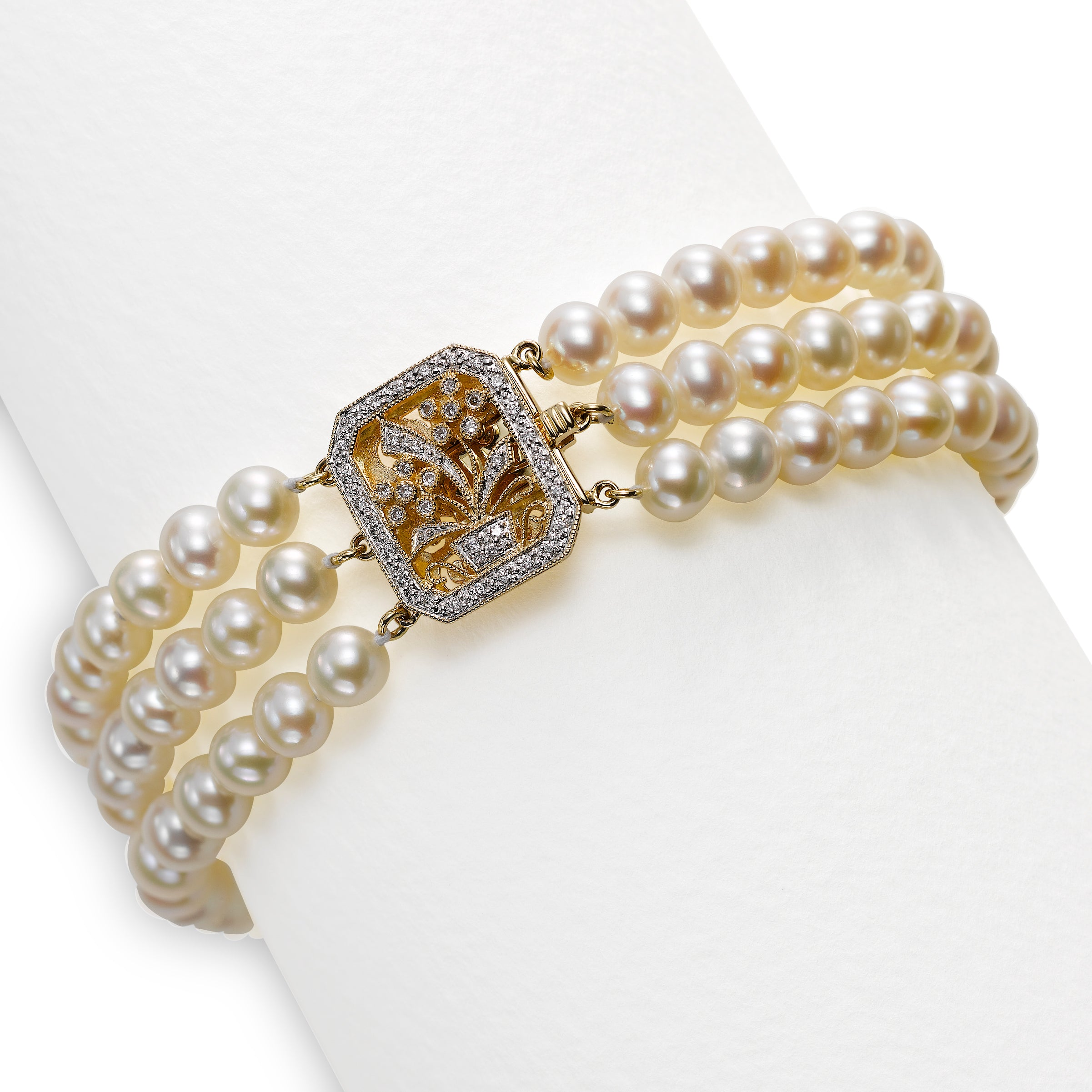 Triple Cultured Pearl And Diamond Bracelet, 14K Yellow Gold