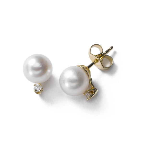 Akoya Cultured Pearl Earrings, 7MM, with Diamonds, 14K Yellow Gold