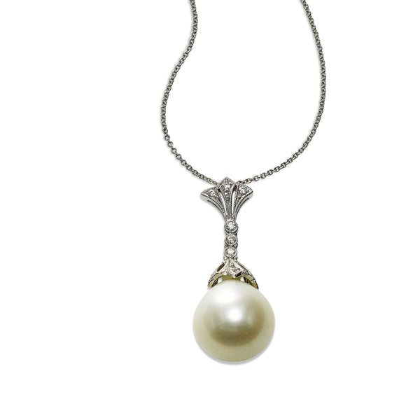 Freshwater Cultured Pearl and Diamond Drop Pendant, 18K White Gold