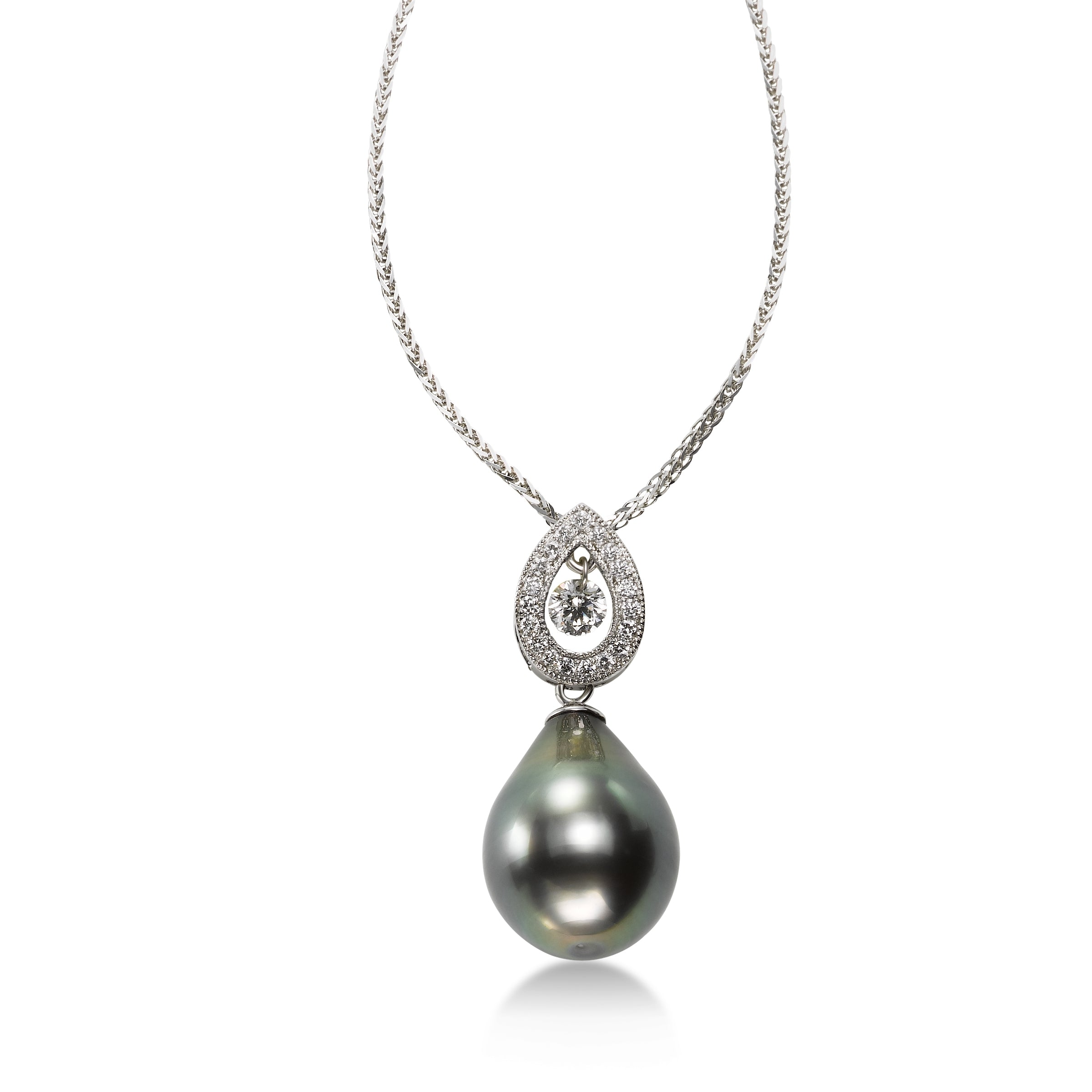Pear Shape Tahitian Cultured Pearl and Diamond Pendant, 18K White Gold