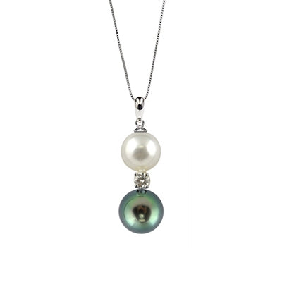 Tahitian and Freswhater Cultured Pearl and Diamond Pendant, 14K White Gold