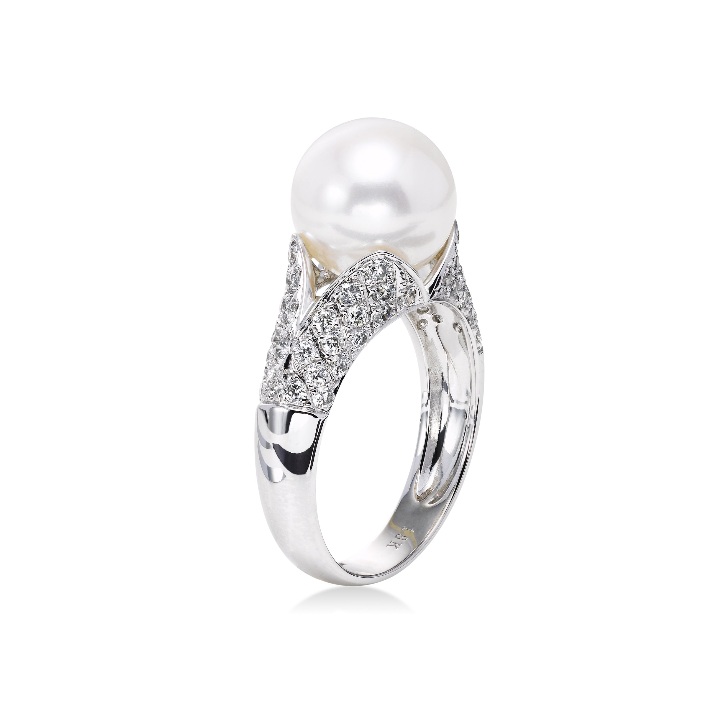 Freshwater Cultured Pearl and Diamond Ring, 18K White Gold