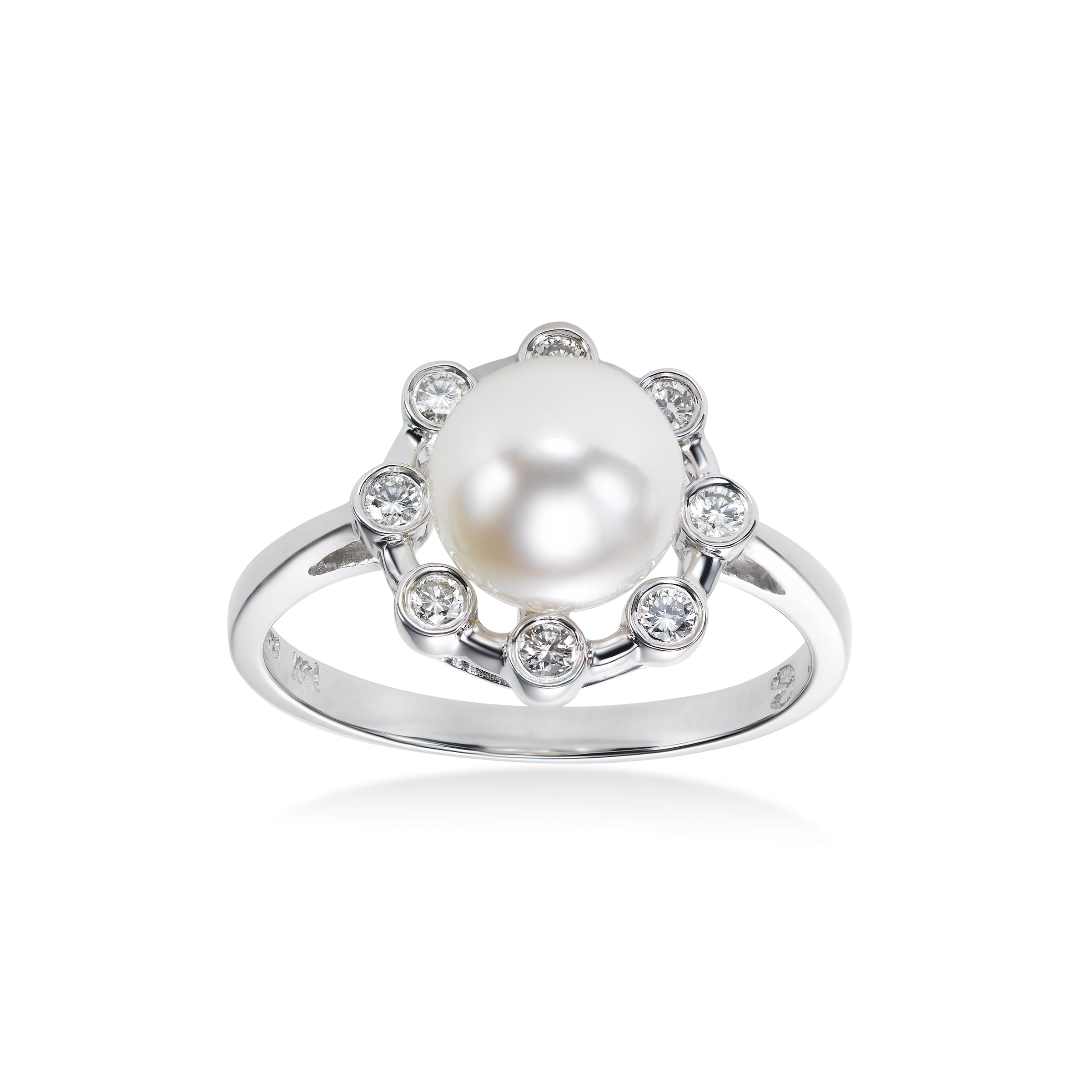 Akoya Cultured Pearl and Diamond Ring, 14K White Gold