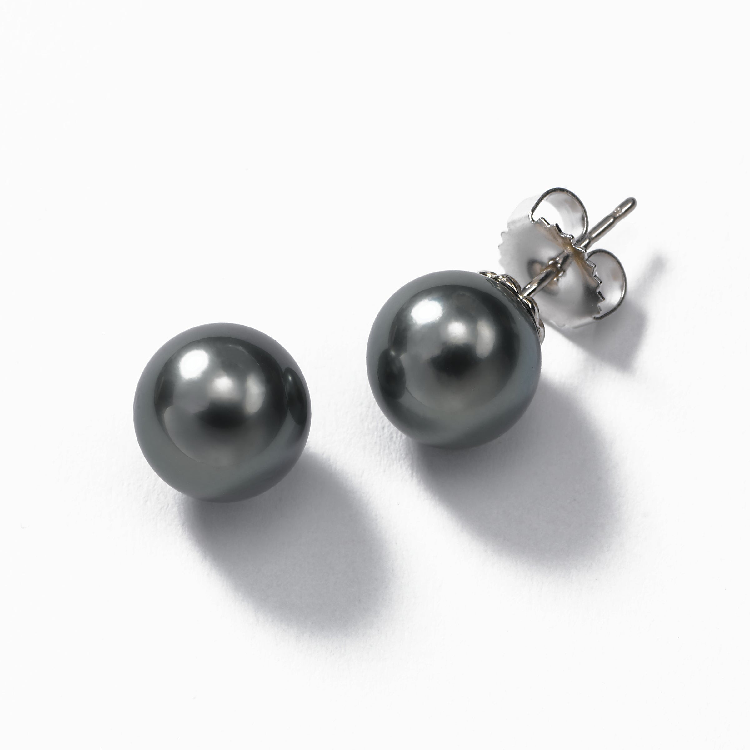 Grey Tahitian Pearl Earring, 9-10MM, 14K White Gold