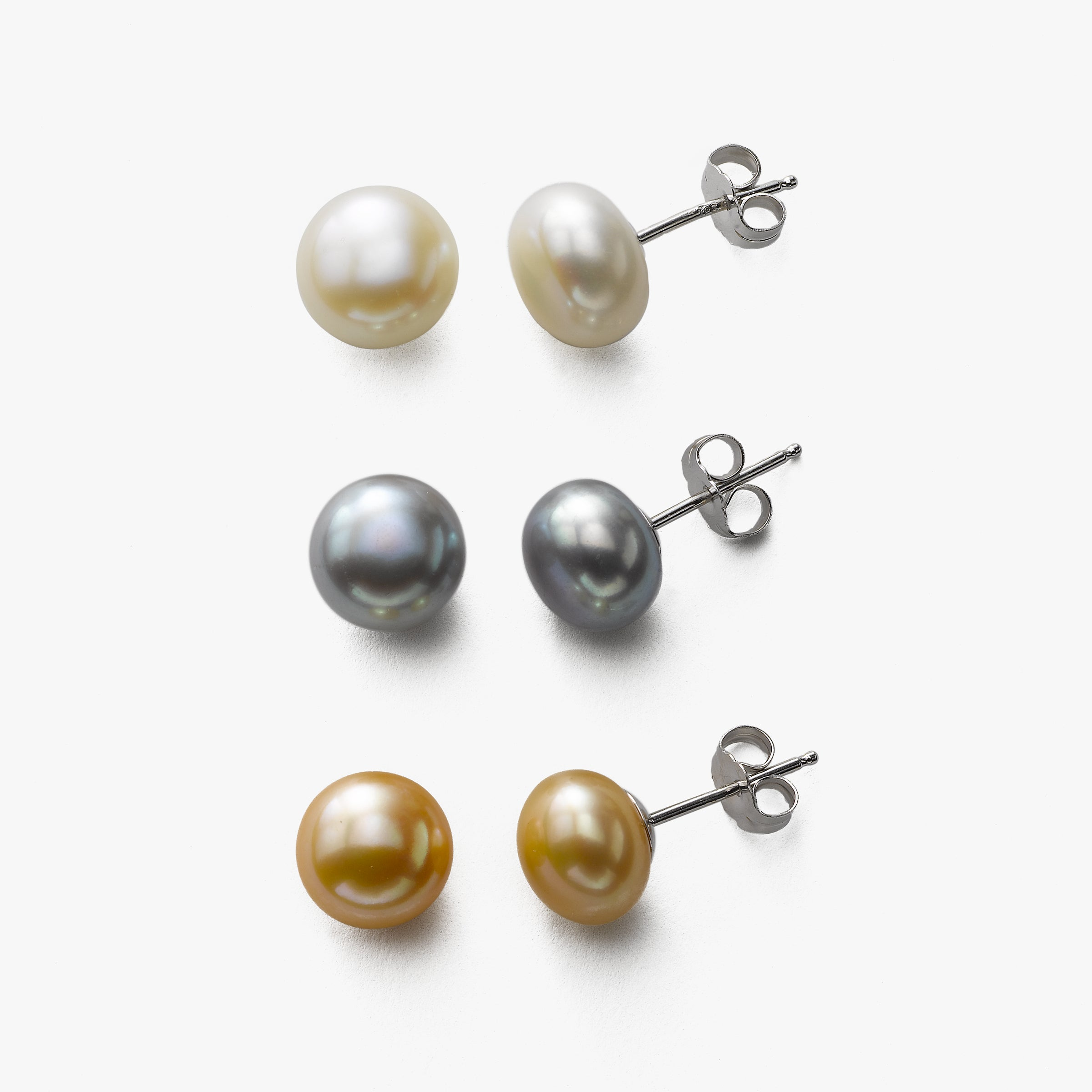 Set of Three Pairs Freshwater Pearl Stud Earrings, Sterling Silver