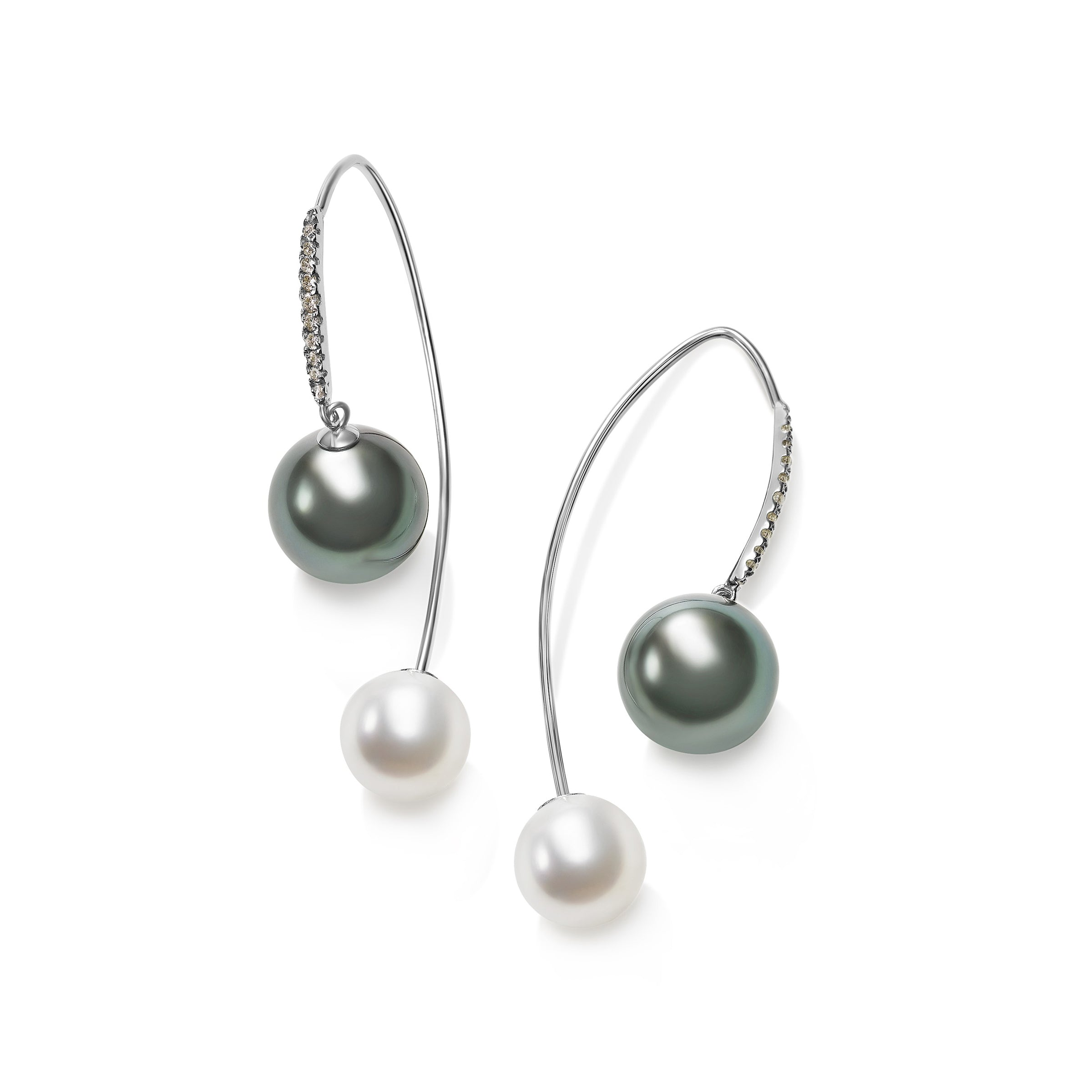 Tahitian Grey and White Cultured Pearl Earrings, 14K White Gold
