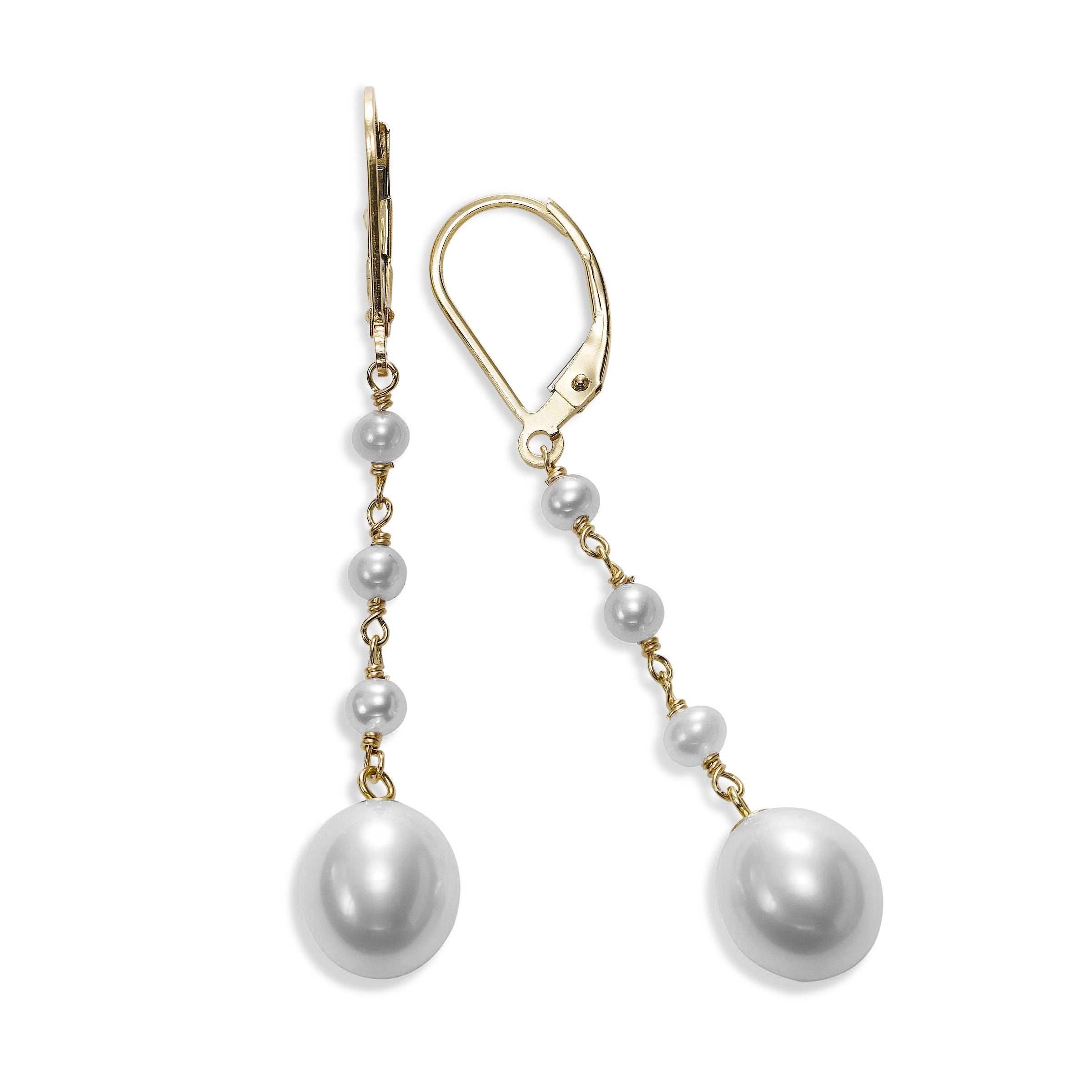 White Cultured Pearl Dangle Earrings, 14K Yellow Gold