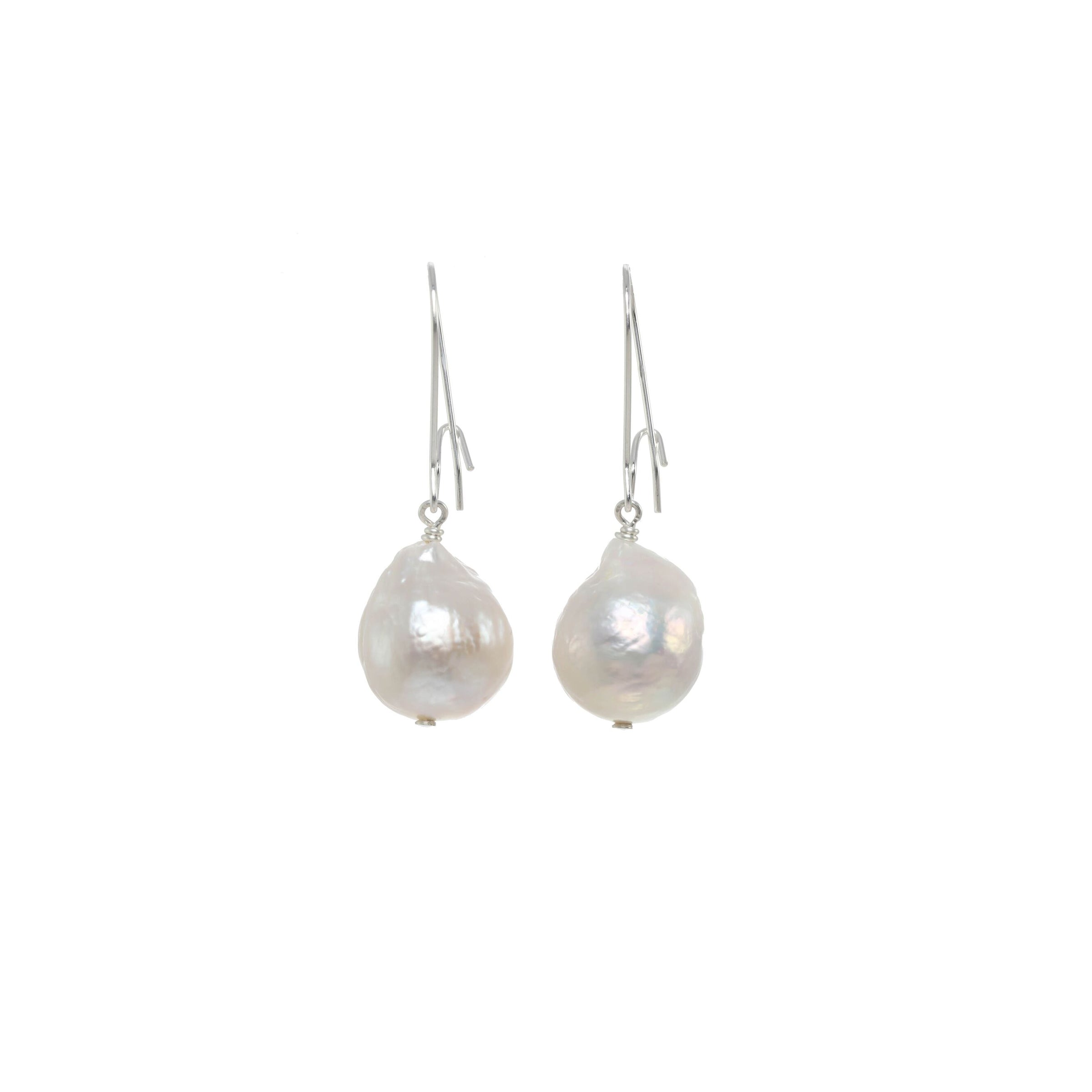 White Baroque Pearl Dangle Earrings, Sterling Silver