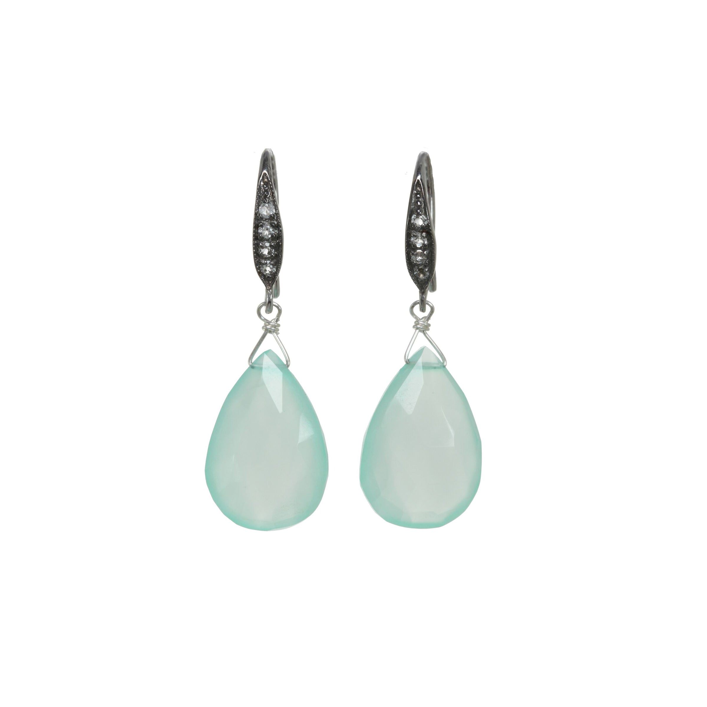 Faceted Blue Chalcedony Drop Earrings, Sterling Silver