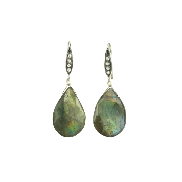 Faceted Labradorite Drop Earrings, Sterling Silver