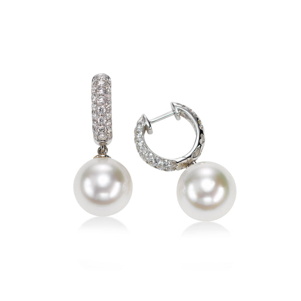 Diamond Hoop with South Sea Pearl Drop, 18K White Gold