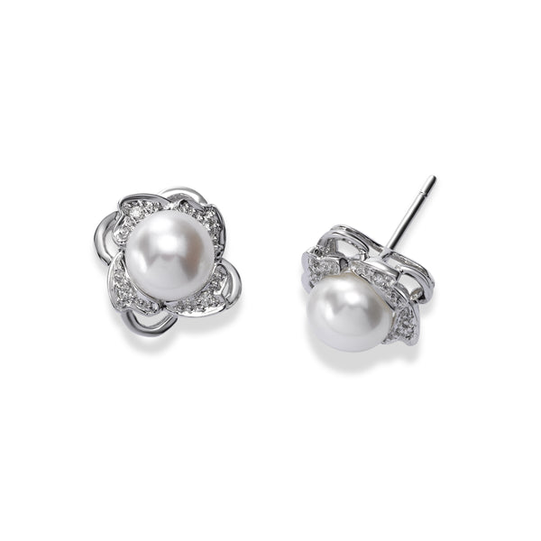 Freshwater Cultured Pearl and Diamond Button Earrings, 14K White Gold