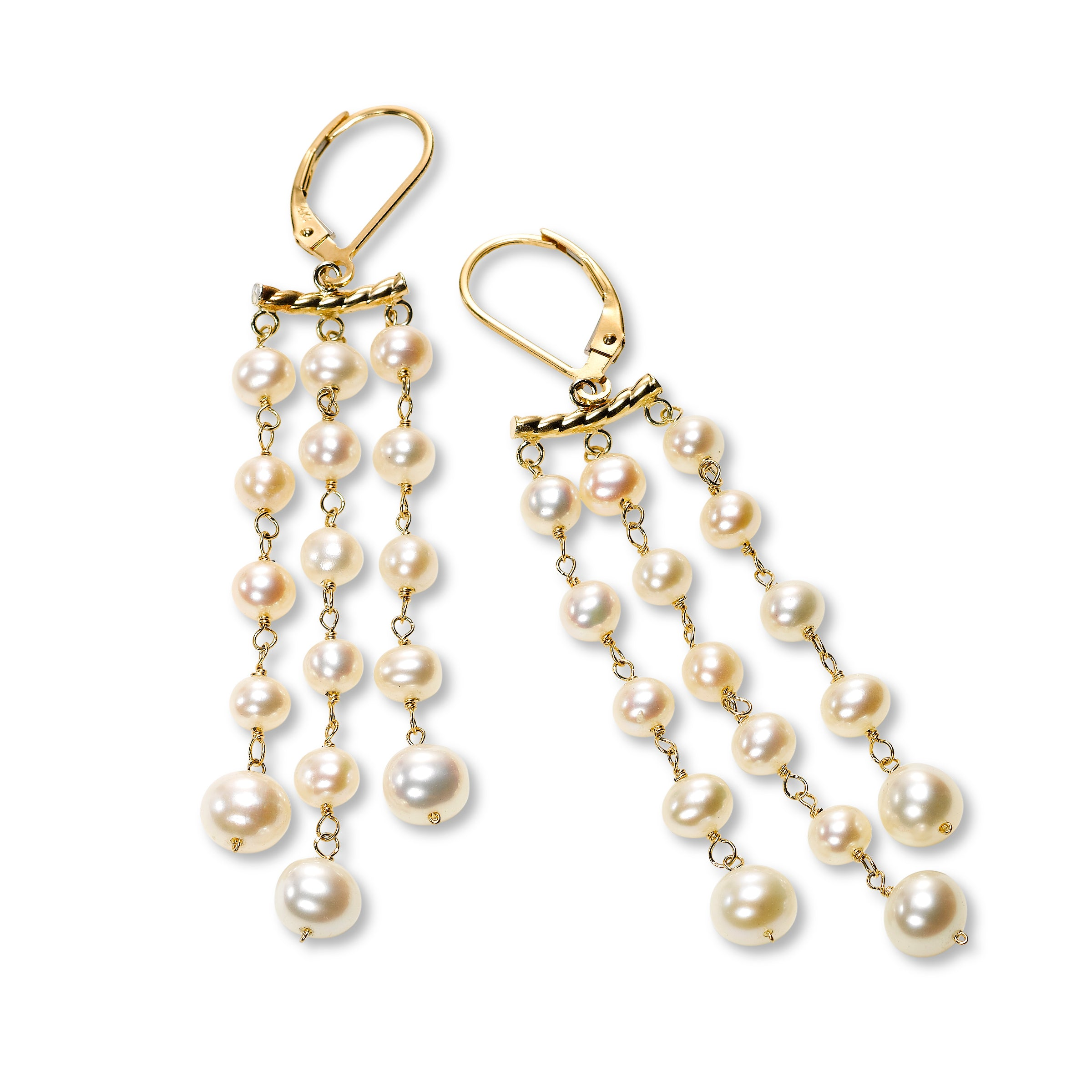 Cultured Pearl Triple Strand Dangle Earrings, 14K Yellow Gold
