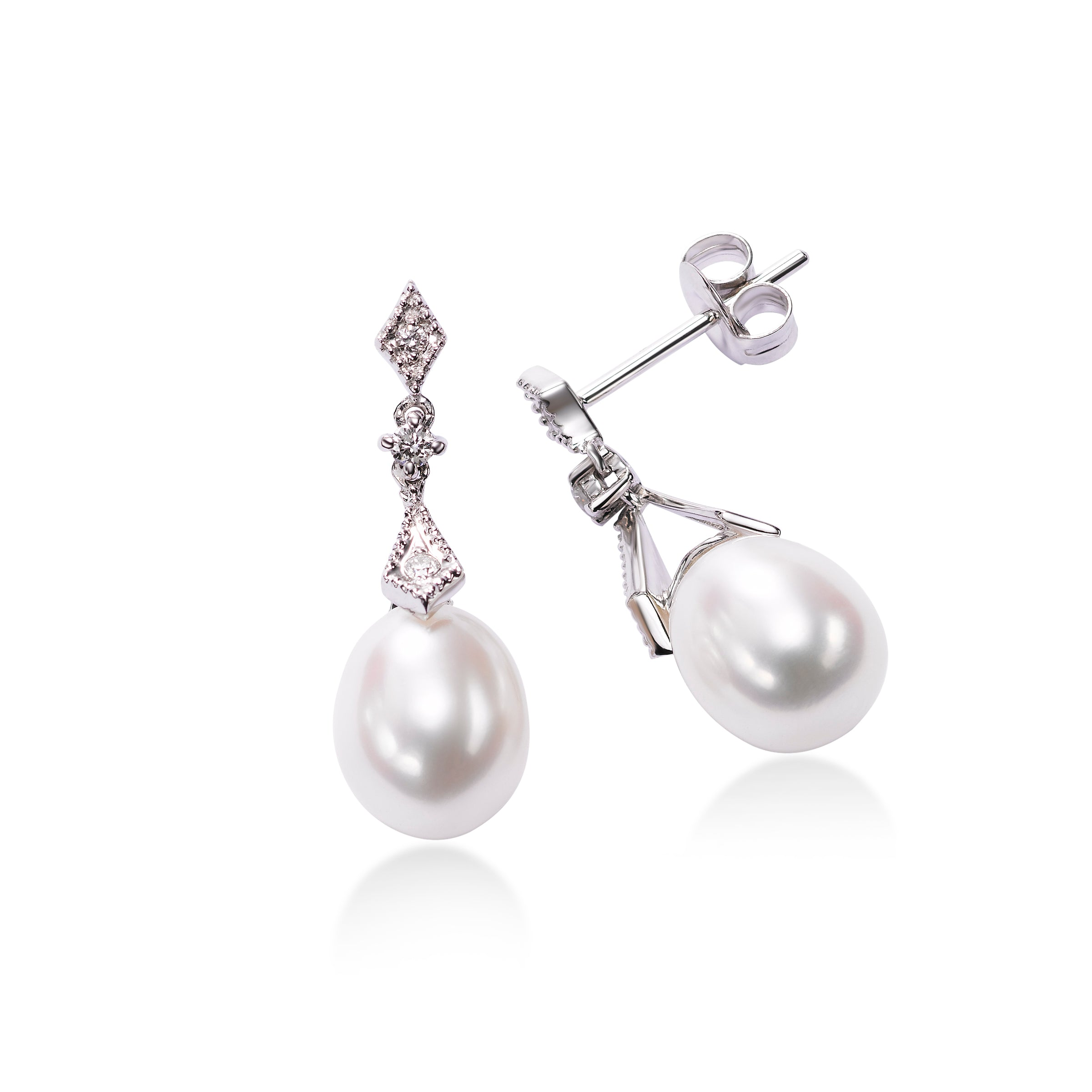 Freshwater Pearl and Diamond Dangle Earrings, 14K White Gold