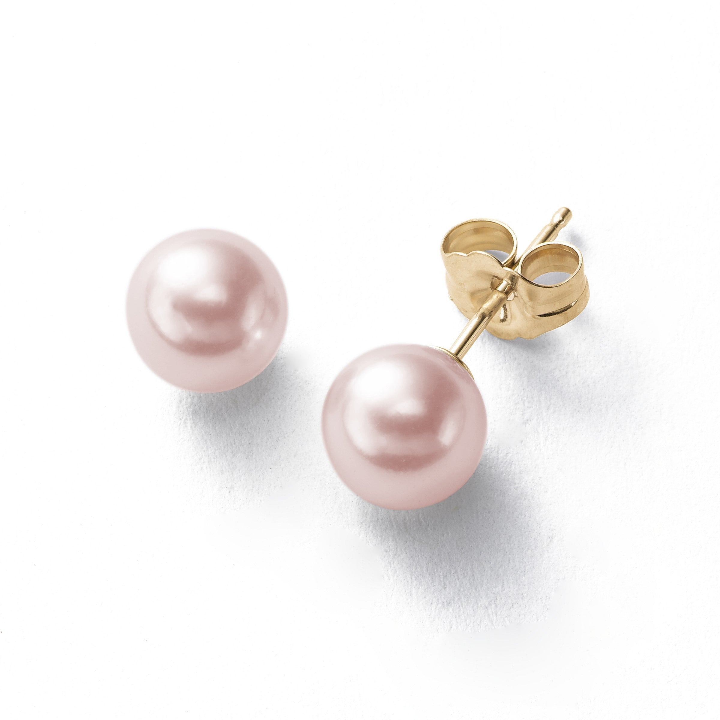 Dyed Pink Freshwater Cultured Pearl Earrings, 10.5-11.5 MM, 14K Yellow Gold