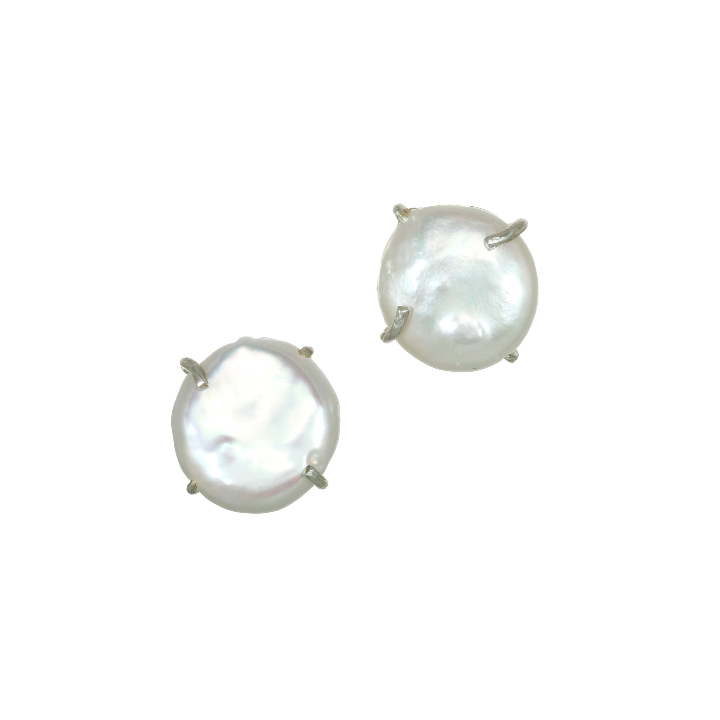 Freshwater Cultured Coin Pearl Earrings, 14MM, Sterling Silver