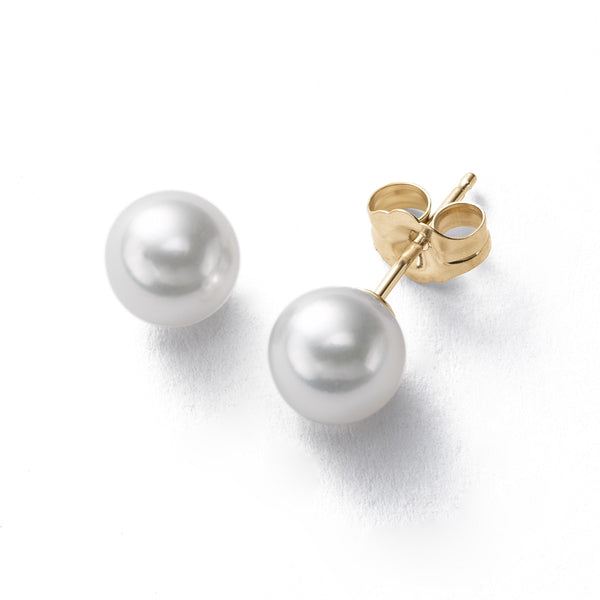 Akoya Saltwater Cultured Pearl Earrings, 7.5 MM, 14K Yellow Gold