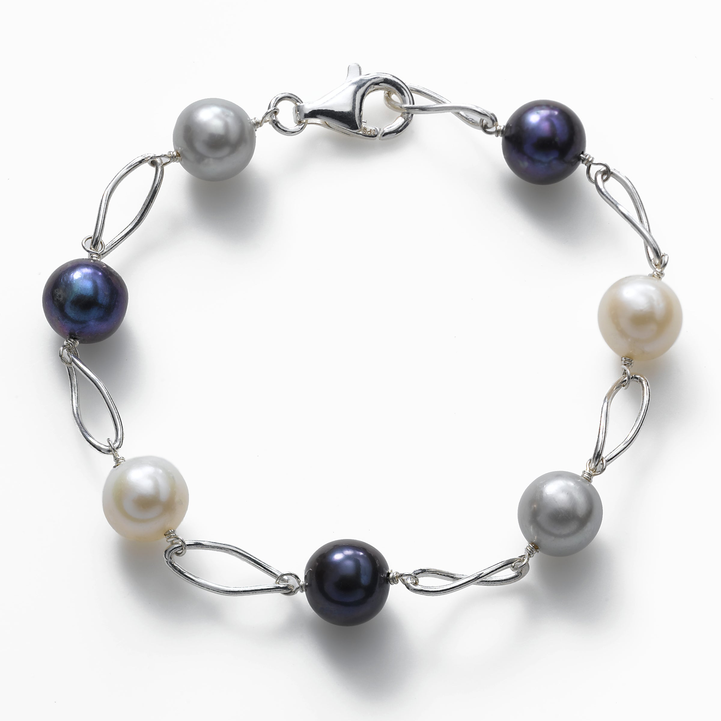 Gray and Black Cultured Freshwater Pearl Bracelet, Sterling Silver