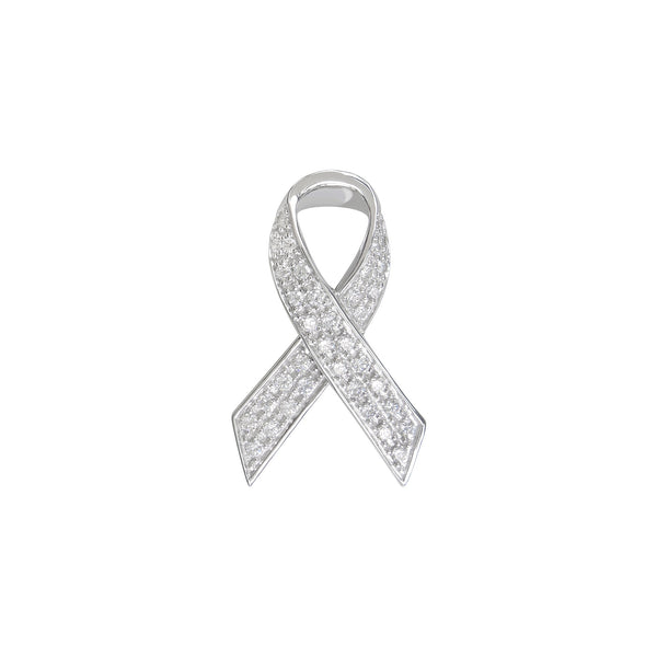 White CZ Ribbon Pin, Sterling Silver