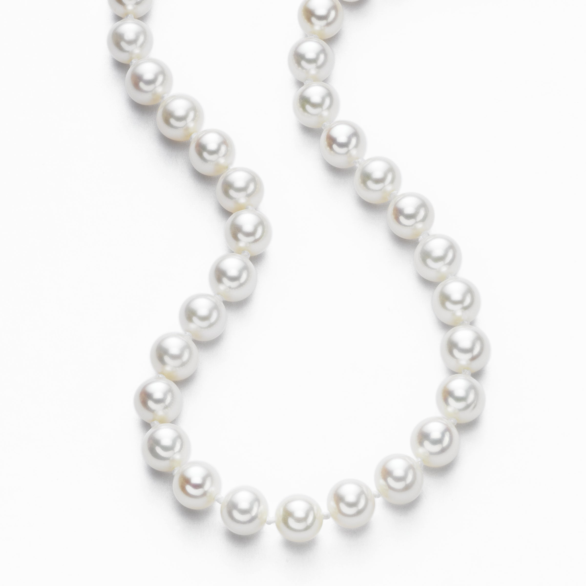 Freshwater Pearl Necklace, 7.5 x 7 MM, 14K White Gold