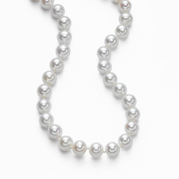Japanese Saltwater Cultured Pearls,  7 x 6.5 mm, 14K White Gold