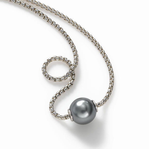 Single Tahitian Pearl 9MM, Moves on Chain, 18 inch, Sterling Silver