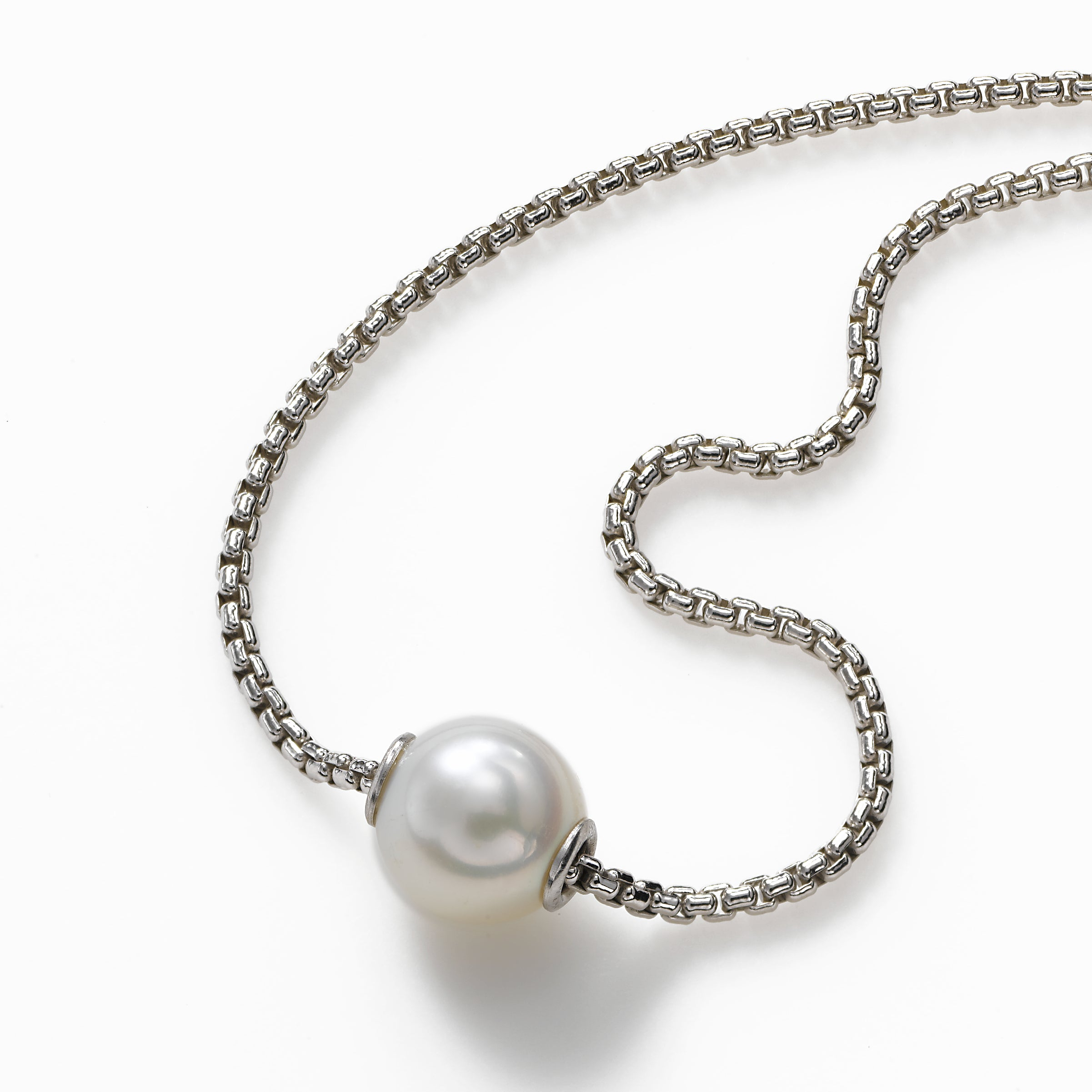 Single Freshwater 9.5MM Pearl, Moves on Chain, 18 Inch, Sterling Silver