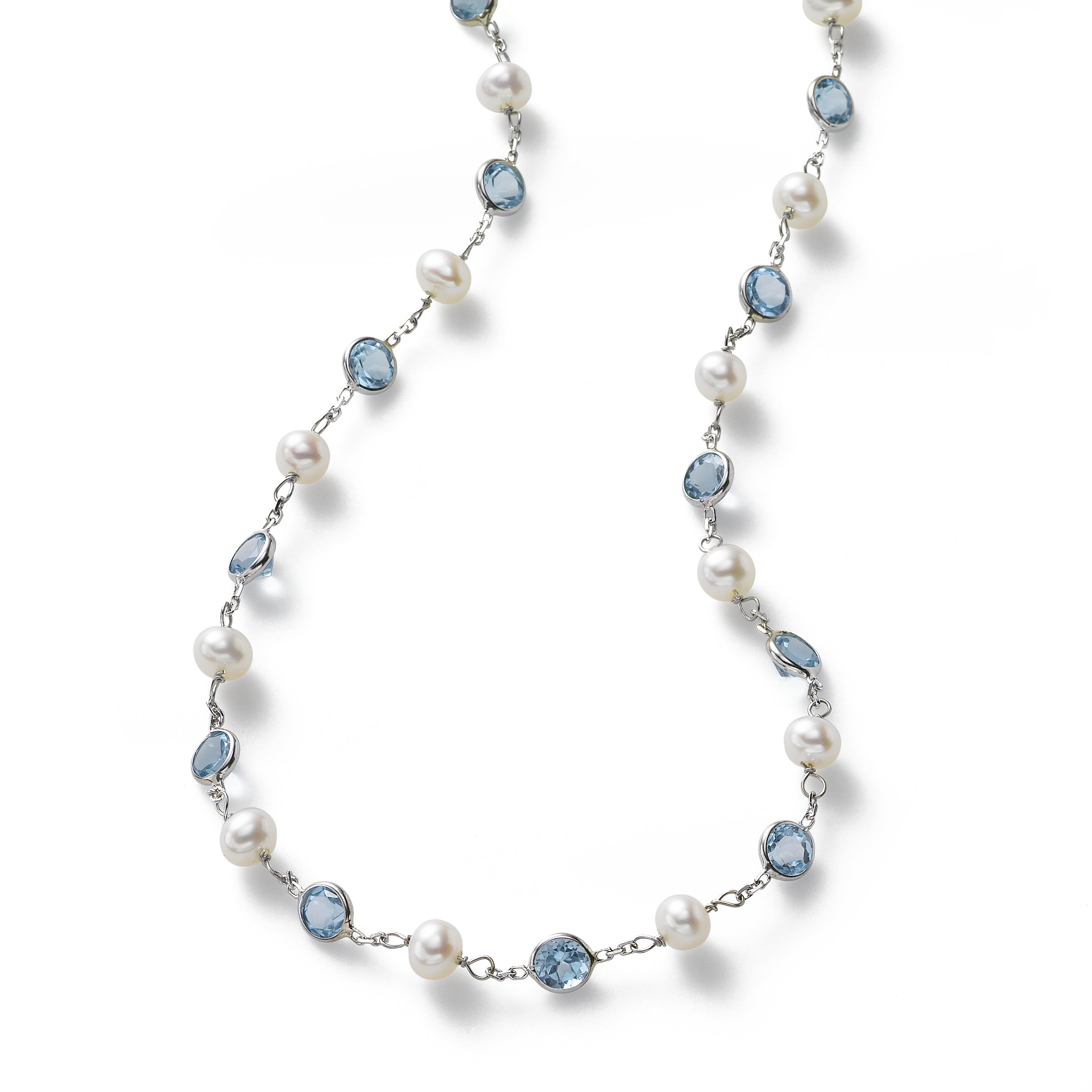 Cultured Pearl and Blue Topaz, 18 inches, 14K