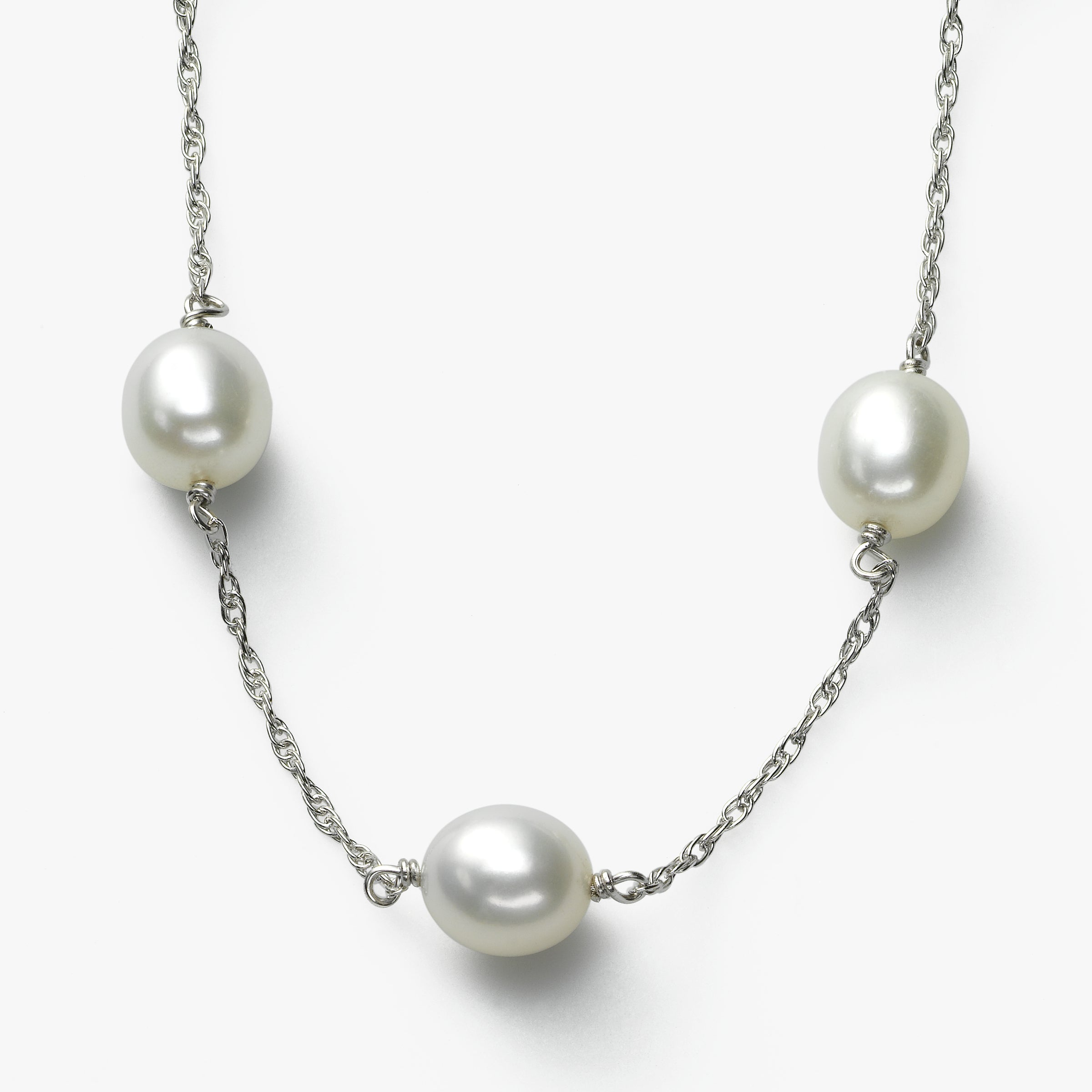 White Freshwater Cultured Pearls, 17 inches, Sterling Silver