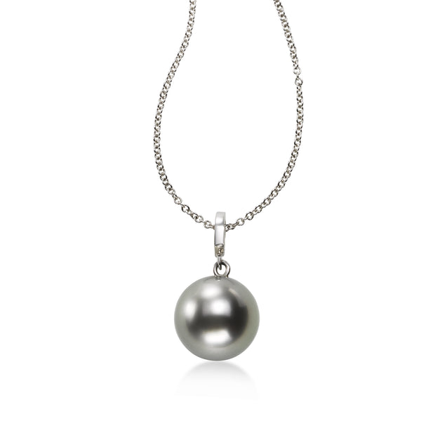Single Tahitian Pearl Pendant, 10.5 MM, 14K White Gold
