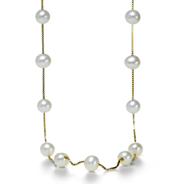 Freshwater Cultured Pearl Station Necklace, 14K Yellow Gold