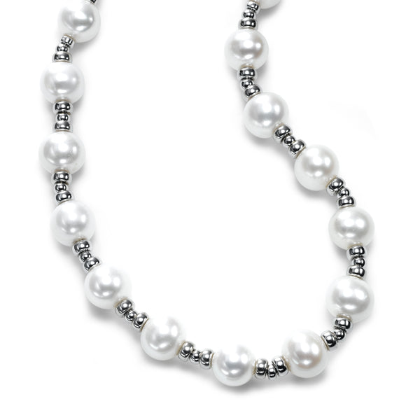 Freshwater Cultured Pearl and Silver Bead Necklace, Sterling Silver