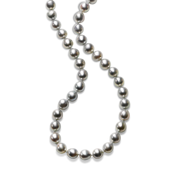 Natural Grey-Hued Akoya Cultured Pearl Necklace, 14K White Gold