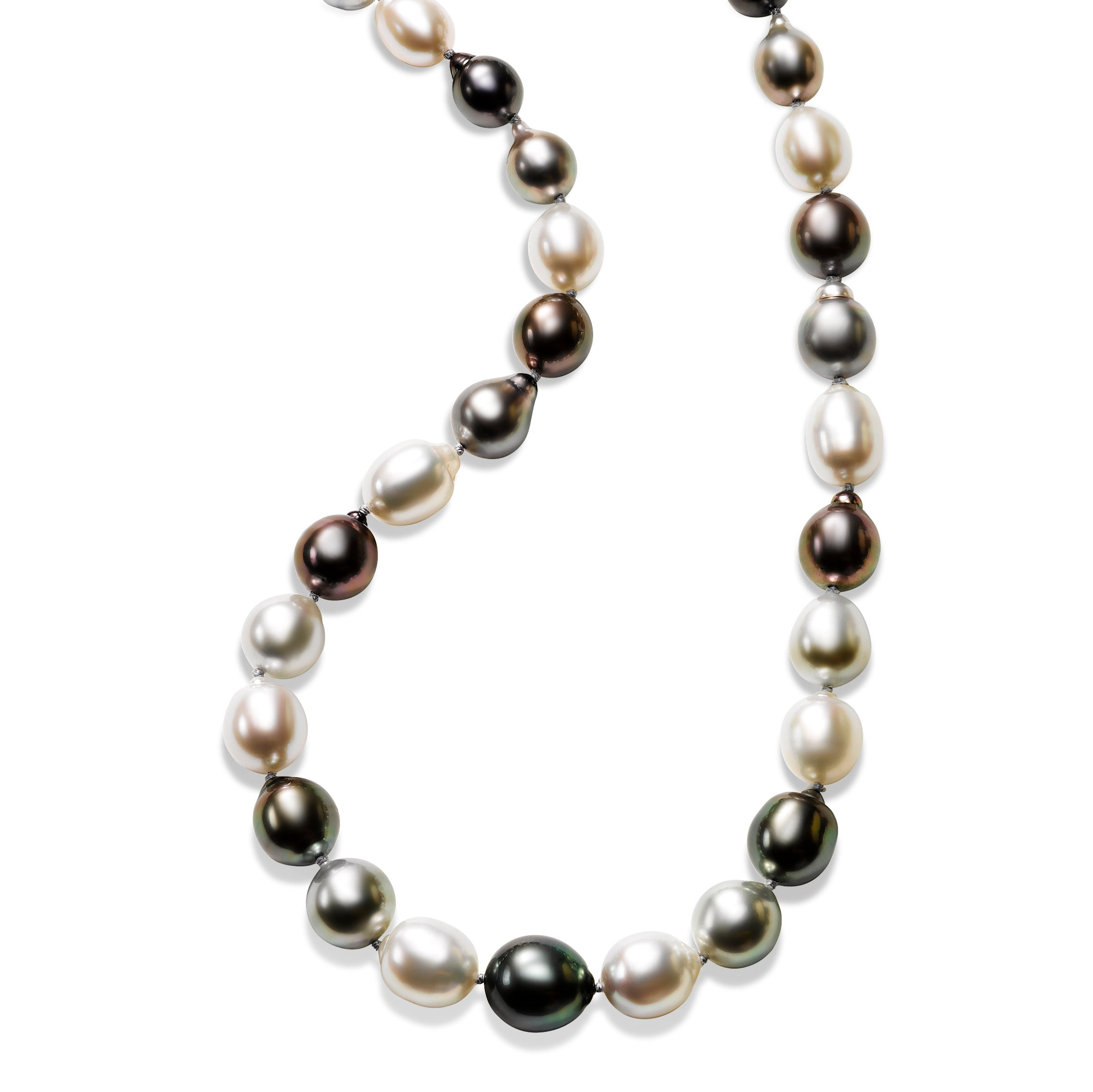 Tahitian Grey and White Baroque Cultured Pearl Necklace
