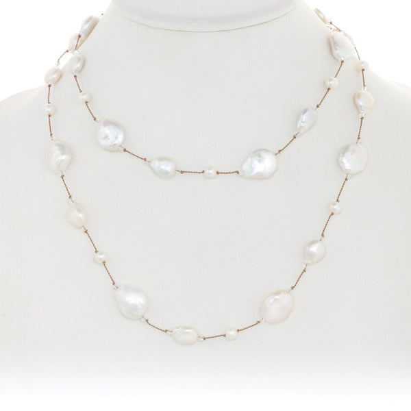 White Freshwater Cultured Coin Pearl Necklace, Sterling Silver