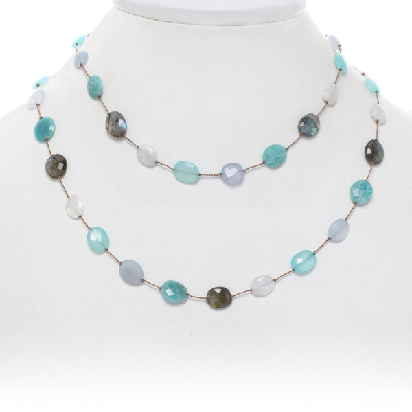 Faceted Multi Gemstone Necklace, 35 Inches, Sterling Silver