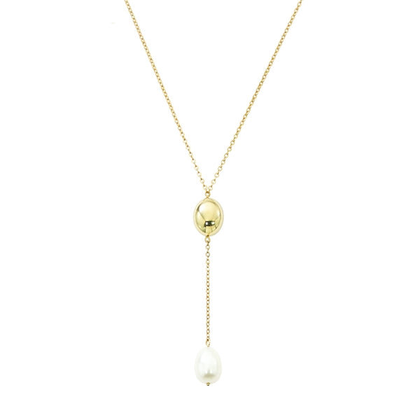 Freshwater Cultured Pearl Y Style Necklace, 14K Yellow Gold