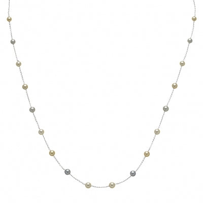 Multi Color Akoya Cultured Pearl Station Necklace, 18.50 Inches, 14K White Gold
