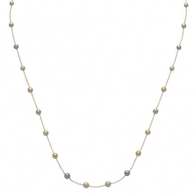 Multi Color Akoya Cultured Pearl Station Necklace, 18.50 Inches, 14K Yellow Gold