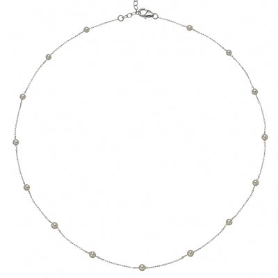 Akoya Cultured Pearl Station Necklace, 18 Inches, 14K White Gold