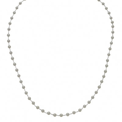 Akoya Cultured Pearl Station Necklace, 20.50 Inches, 14K White Gold