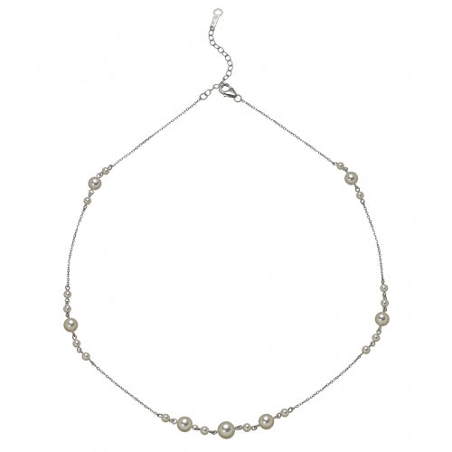 Akoya Cultured Pearl Cluster Necklace, 18 Inches, 14K White Gold