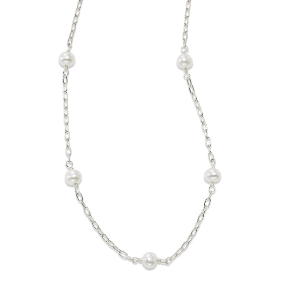 Child's Freshwater Cultured Pearl Station Necklace, Sterling Silver