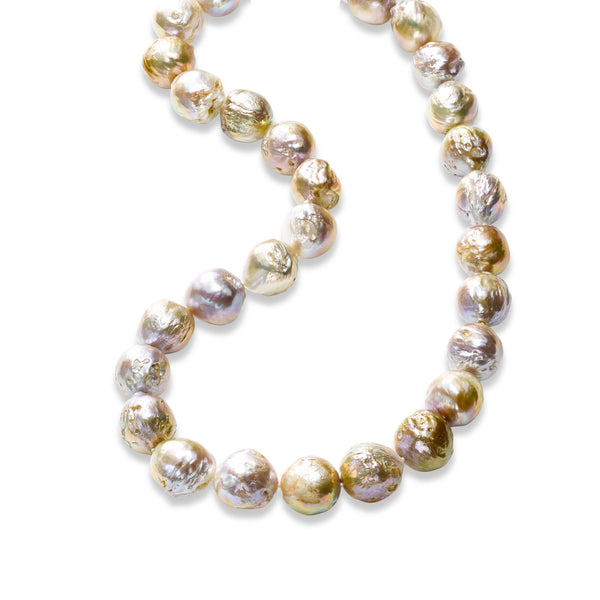 Multi Hued Baroque Cultured Pearl Necklace, 18 Inches