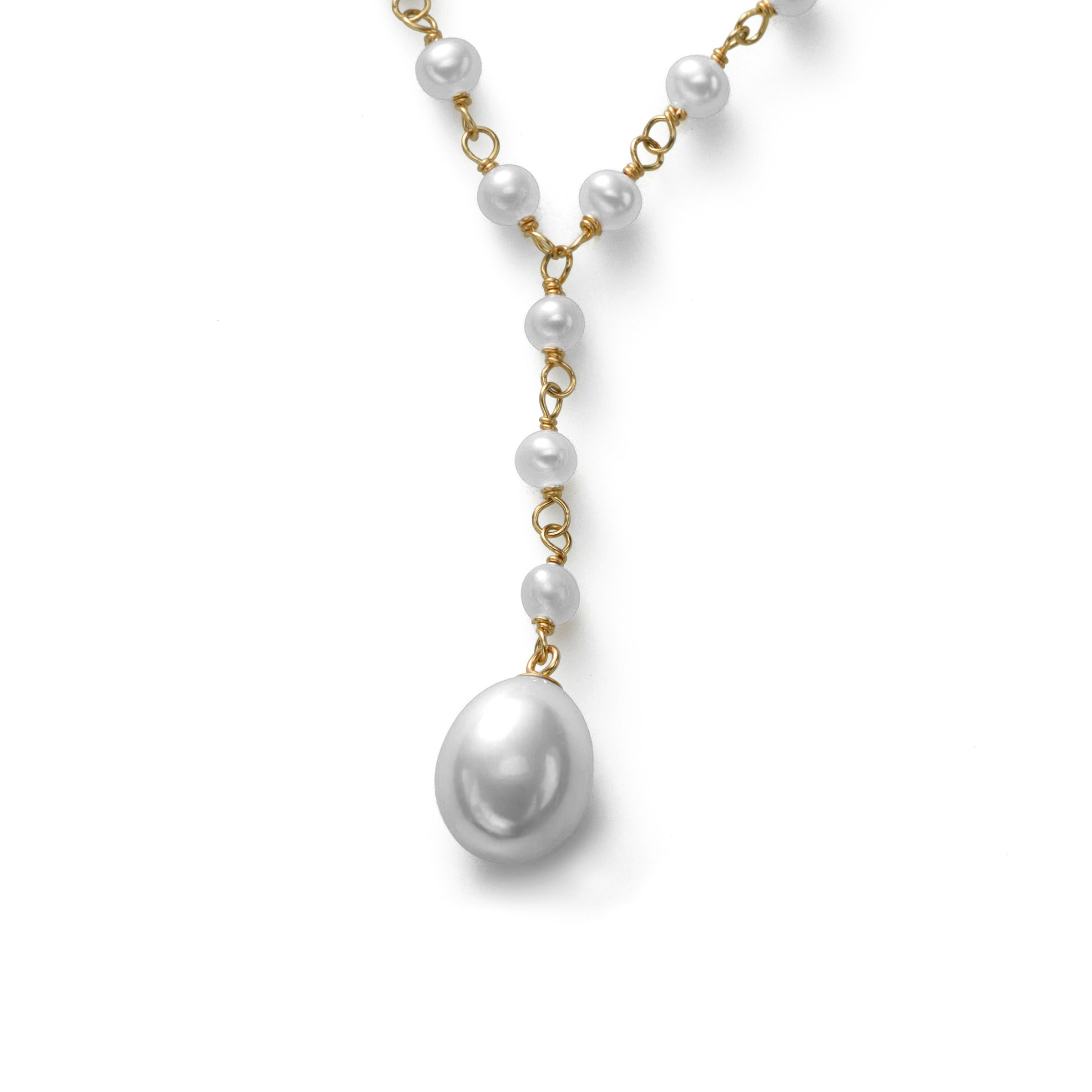 White Cultured Freshwater Pearl 17 Iinch Necklace with Drop