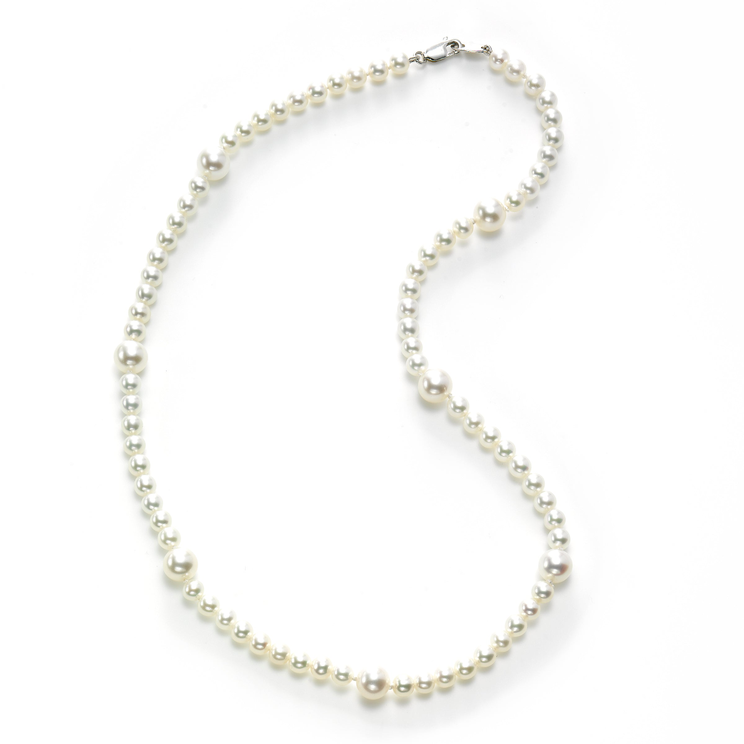 Freshwater Cultured Pearl Station Necklace, Sterling Silver