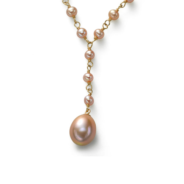 Pink Cultured Freshwater Pearl 17 Inch Necklace with Drop